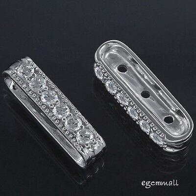 5 Fine Sterling Silver 3-Strand Rectangle Spacer Bar 4 x 20mm #97195 5 Strand Spacer Bar