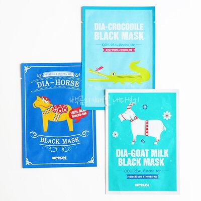 IPKN Dia-Horse Dia-Crocodile Dia-Goat Milk Black Mask Pack Sheet 5Pcs / 10Pcs
