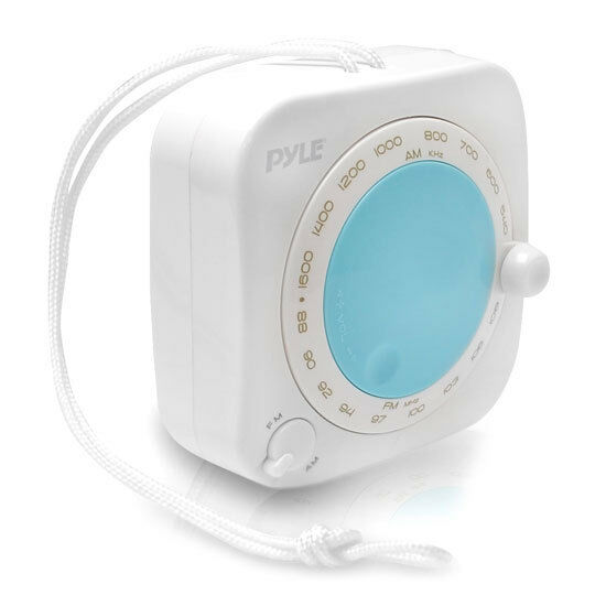 Pyle PSR7 Mini Shower AM/FM Radio Waterproof Speaker Portable Alarm Music