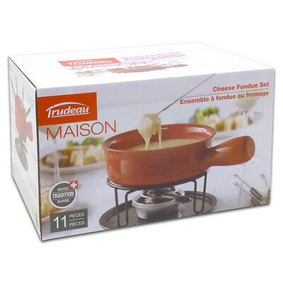 Trudeau 11 Pc Cardinal Cheese Fondue Set, Red, 0534510 - Brand New
