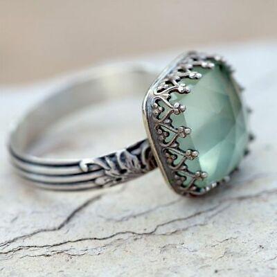 Women 925 Silver Gemstone Vintage Peridot Vintage Moonstone Wedding Ring Sz -
