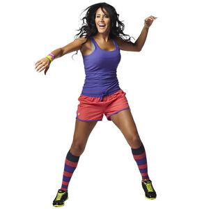 ZUMBA-FITNESS-OUTFIT-3-piece-TOP-SHIRT-GYM-RUNNING-SHORTS-KNEE-SOCKS-DANCE-M