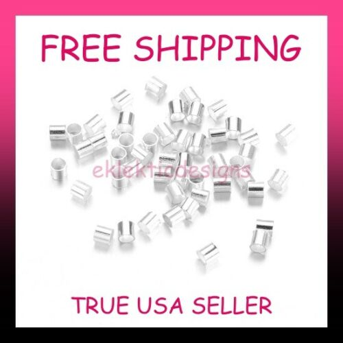 100pcs 1.5mm Silver Plated BRASS Tube Crimps Crimp Beads Ends FREE SHIPPING