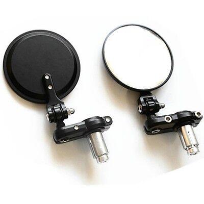 "Universal Motorcycle 3"" Round 7/8"" Bar End Mirrors Black For Honda Suzuki Harley"