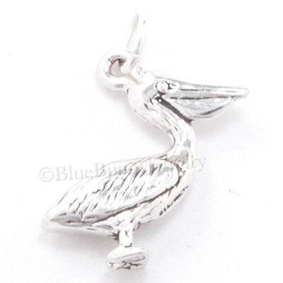 Sterling 925 Charm Pendant - PELICAN Charm Pendant Ocean Beach Water Sea BIRD STERLING SILVER 3D 925 .925