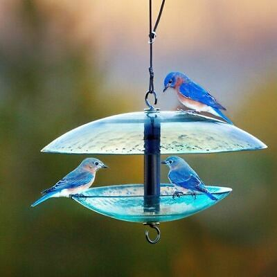 Couronne Cobalt Glass Bird Feeder With Weather Baffle Dome  CM380215 Bird Feeder Weather Dome