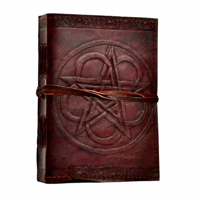"Double Pentagram Floral Leather 7"" Book of Shadows Journal Linen Parchment Pages"