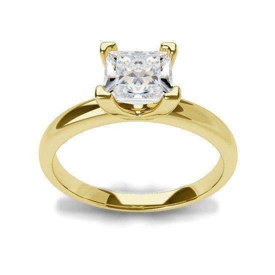 Princess Square Diamond Ring 18 Karat Yellow Gold Vvs1 D Colorless Authentic