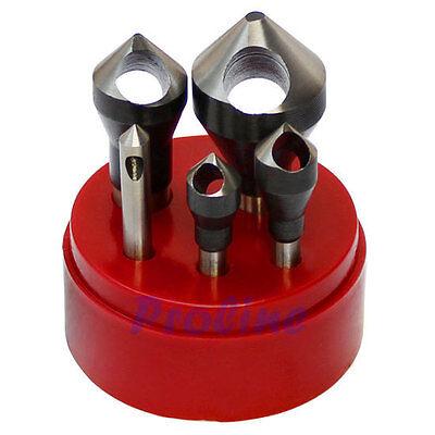 5 Pc Hss 82 Degree Countersinks Deburring Tool Set Straight Shank 116-916