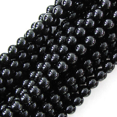 "Black Onyx Round Beads Gemstone 15"" Strand 2mm 4mm 6mm 8mm 10mm 12mm 14mm"