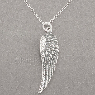 """ANGEL WING Faith Charm Pendant 925 STERLING SILVER 18"""" chain Necklace 1 1/4"""""""