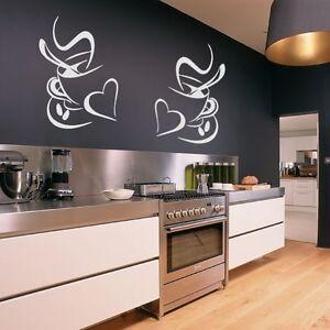 2 coffee cups kitchen wall stickers vinyl art decals cafe diner hearts diy ebay. Black Bedroom Furniture Sets. Home Design Ideas