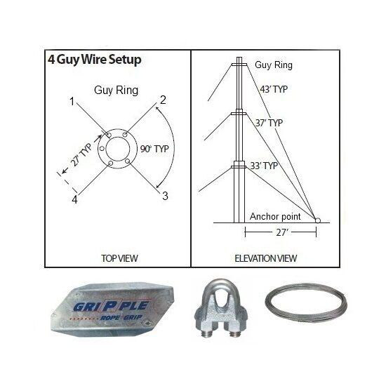 30' ft 4 Way Down Guy Wire Kit w/ 30