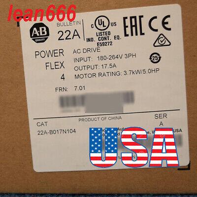 New In Box Allen-bradley Powerflex 4 3.7 Kw 5 Hp 240v Ac Drive 22a-b017n104 3ph