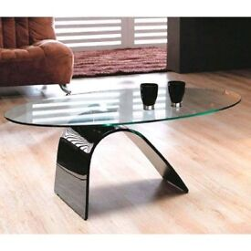 Modern Bent Glass Coffee Table With Black Base
