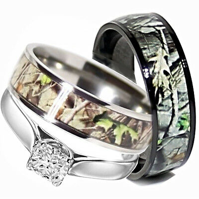 His TITANIUM Camo & Hers STERLING SILVER Wedding Rings Set Camouflage Black 3pcs