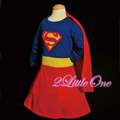 Superwoman Girl Superhero Hero Fancy Party Dress Up Costume Kids Size 6-7 FC003 - Superwoman Costumes For Girls