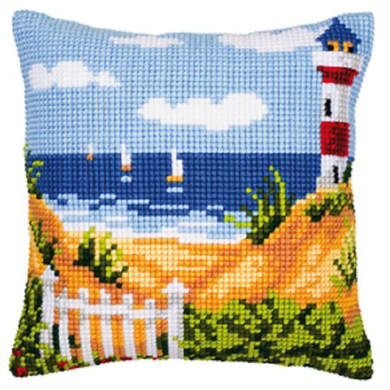 Lighthouse/Beach - Large Holed Printed Tapestry Cushion Kit/Chunky Cross Stitch