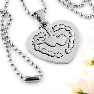 Various Couple Stainless Cute Heart Cross Silvery Necklace Lover Gift Steel