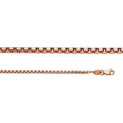 Square Round Box Heavy Chain Necklace Italy 1.8 mm 14k Rose Gold Lobster Clasp (Heavy Round Box)