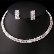 Bridal Crystal Necklace Earrings Set