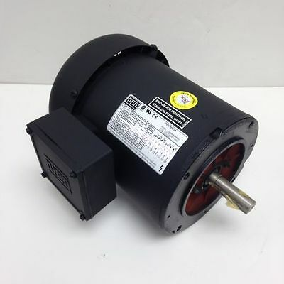 Weg .50 Hp 3600 Rpm Tefc 208230460 Volts 56c 3 Phase Motor New Surplus