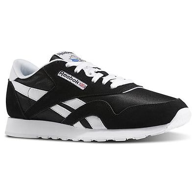 Reebok 6604:CL Nylon Classic BLACK/White Casual Walking Comfort Sneakers for MEN