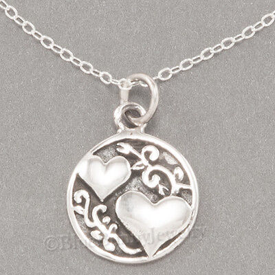 Two Hearts Sisters Script Friends Charm Pendant Sterling Silver 18  Necklace 925