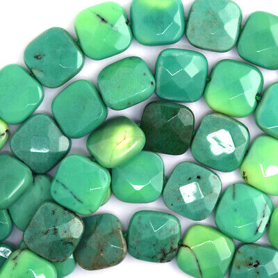 """15mm faceted green chrysoprase flat square beads 16"""" strand"""