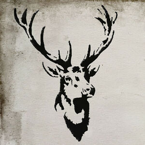 Stags head deer stencil vintage home decor wall painting for Pochoir deco murale