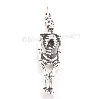SKELETON SKULL Halloween Medical Pendant Charm 3D 925 Sterling Silver full body