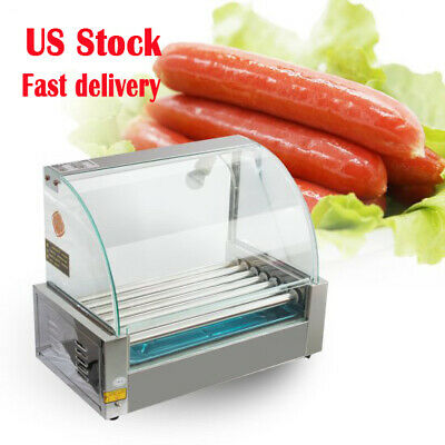 18 Hot Dog 7 Roller Grill Stainless Steel Cooker Machinecoverled 1050w