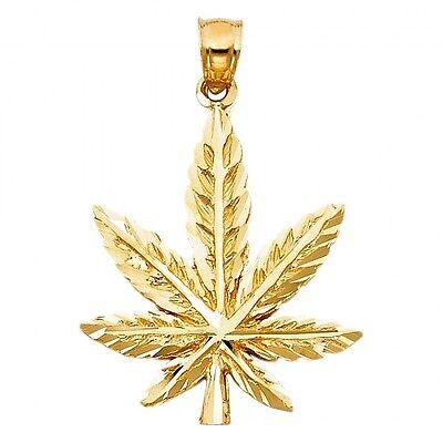 14k Gold Diamond Leaf Pendant (14k Yellow Gold Diamond Cut Magic Marijuana Weed Hemp Leaf Charm)