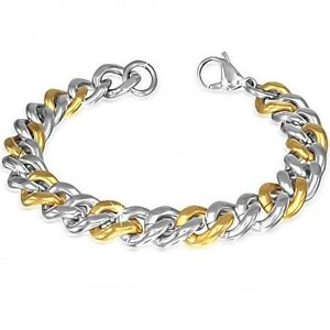 Men's Two Tone - Gold and Silver Cuban Link Bracelet