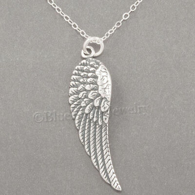 Angel Solid Sterling Silver Necklace - ANGEL WING Necklace Charm Pendant STERLING SILVER 18