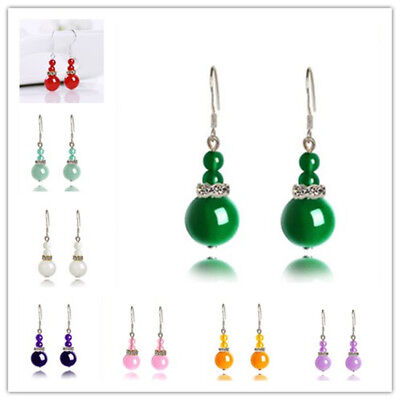 Fashion Womens Natural Stone Opal Agate Jade Hook Drop Dangle (Stone Fashion Earrings)