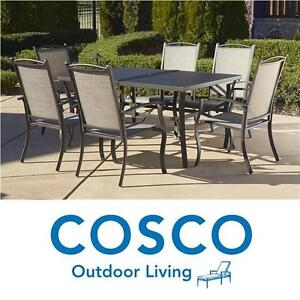 NEW* COSCO 7 PC PATIO DINING SET - 114897219 - 6 CHAIRS AND TABLE SERENE RIDGE DARK BROWN SEATS SEATING OUTDOOR LIVIN...
