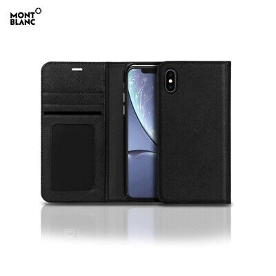 Genuine Montblanc Saffiano Natural Leather Flip Wallet Cover Case for iPhone XR