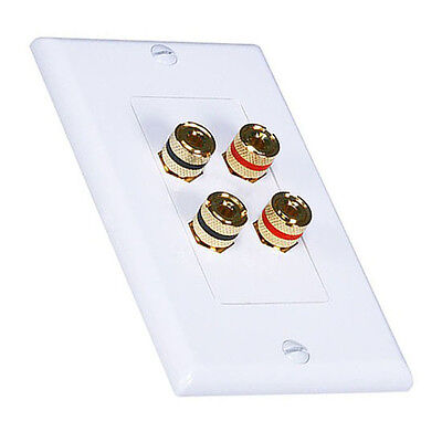 Eagle Banana Binding Speaker Wall Plate Dual 2 Pair White 4 Post Gold Plate Deco Gold Dual Wall Plate