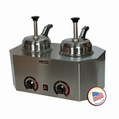 Nacho Cheese Dispenser Warmer Paragon 2029d Backside Heated Spouts Hot Fudge
