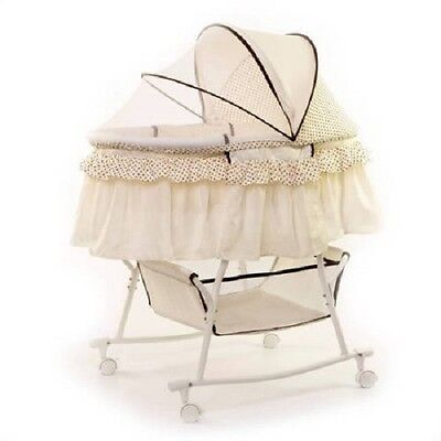 Bassinet Baby Cradle Cream Portable 2 In 1 Canopy Rocking Portable Wheel