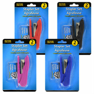 Jot Stapler Set With 200 Staples Red Pink Blue Black Choice