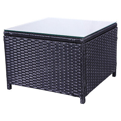 Outdoor Square Rattan Wicker End Side Table Desk with Glass Top Patio Furniture