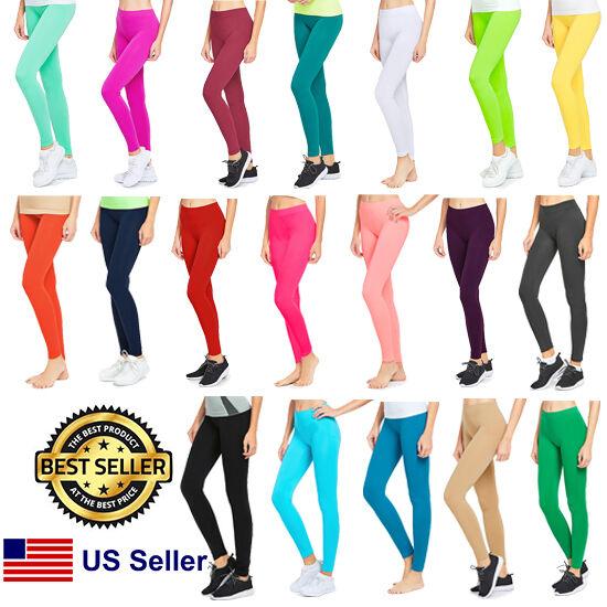 NWT Mopas Women's Full Length GYM Workout Plain Solid Stretch Slim Leggings