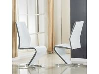Gia Dining Chair In White And Grey Faux Leather In A Pair