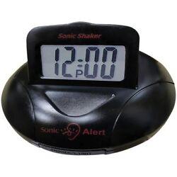 Sonic Alert SONASBP100B Black Sonic Shaker Travel Alarm Clock w/90dB Loud Alarm