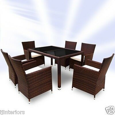 Garden Furniture - RATTAN GARDEN FURNITURE DINING TABLE AND 6 CHAIRS DINING SET OUTDOOR PATIO