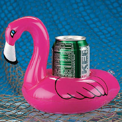 FLOATING DRINK HOLDERS SET OF 4 pink FLAMINGO Inflate Can Coaster swimming pool