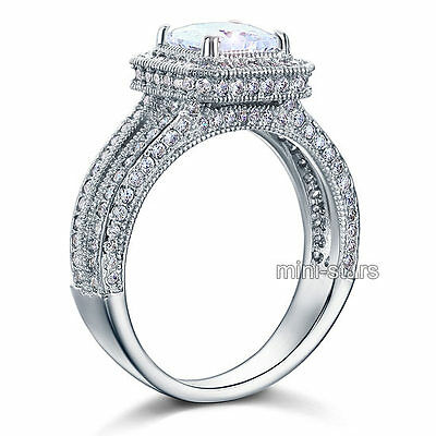 Vintage Style Created Diamond 925 Sterling Silver Wedding Engagement Ring FR8111