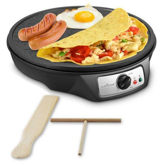 NutriChef Electric Griddle & Crepe Maker | Nonstick 12 Inch Hot Plate Cooktop
